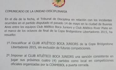 La Conmebol eliminó a Boca de la Copa Libertadores