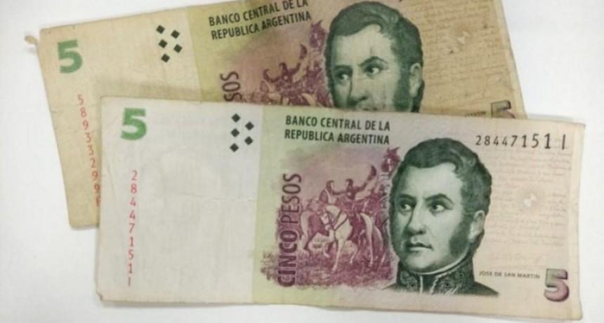 Extienden la circulación legal de los billetes de 5 pesos
